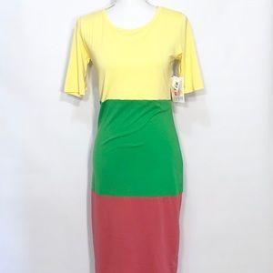 LuLaRoe Julia tri color knit dress NWT